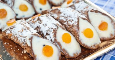 Sicilian cannoli with orange.typical sicilian sweet. closeup